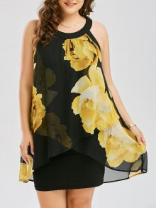 Plus Size Floral Print Overlay Sheath Dress - Yellow 2xl