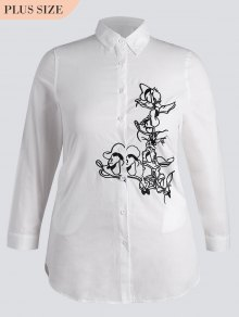 Button Down Embroidered Plus Size Shirt - White 4xl