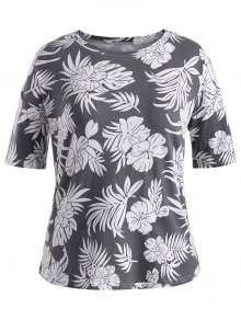 Short Sleeve Plus Size Graphic Leaf Print Tee - Gray 4xl