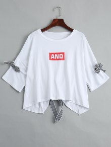 Drop Shoulder Letter Print Tee - White