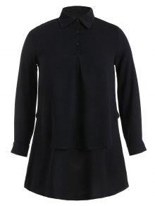 Double Layered Plus Size Longline Blouse - Black 4xl