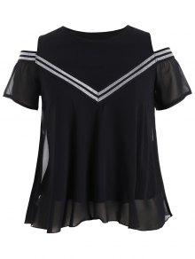 Plus Size Cold Shoulder Patterned Blouse - Black 4xl