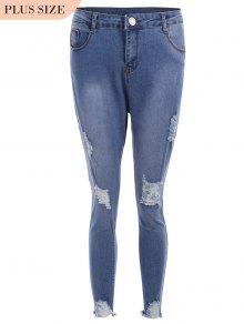 Cutoffs Ripped Plus Size Jeans - Blue Xl