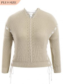 Plus Size Lace Up Chunky Sweater - Light Khaki