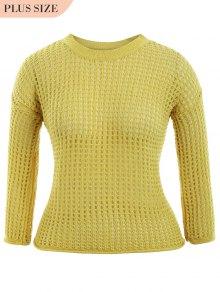 Plus Size Cut Out Knitwear - Yellow