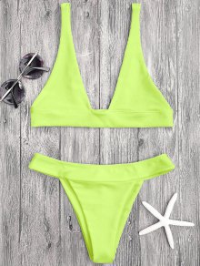 Plunge Bikini Top And High Cut Bottoms - Neon Yellow M