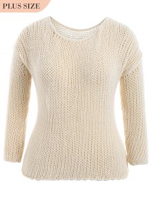 Plus Size Sheer Chunky Sweater - Off-white 2xl