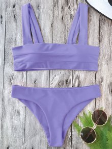 Padded Wide Straps Bandeau Bikini Set - Purple M