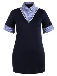 Striped Panel Bodycon Preppy Dress - Purplish Blue 3xl