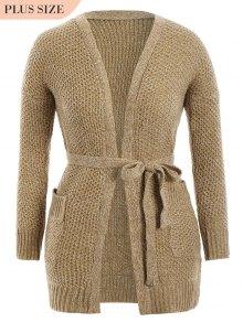 Plus Size Heathered Belted Cardigan - Khaki