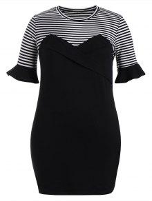 Ruffles Striped Panel Bodycon Dress - Black 3xl