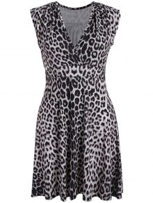 Plus Size Leopard Print Surplice Dress - Black Leopard Print 3xl
