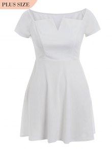 A Line Plus Size Off Shoulder Dress - White 5xl