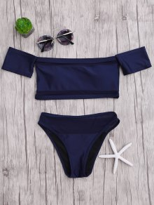 Mesh High Cut Off The Shoulder Bikini Set - Blue M