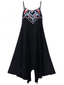 Plus Size Embroidery Slip Summer Dress - Black 3xl