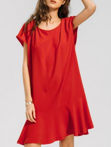 Cap Sleeve Ruffled Hem Casual Dress - Jacinth Xl
