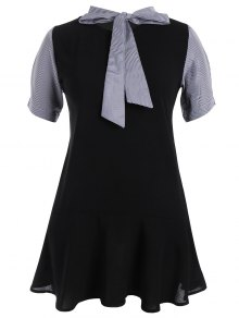Plus Size Bowtie Neck Striped Dress - Black 3xl