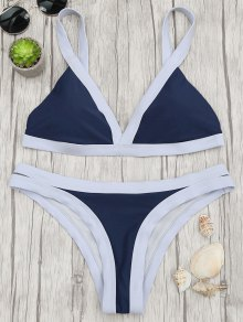 Two Tone Padded Swimsuit - Purplish Blue S