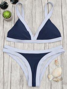 Two Tone Padded Swimsuit - Purplish Blue M
