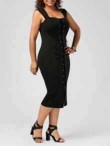 Lace Up Bodycon Plus Size Midi Dress - Black 2xl