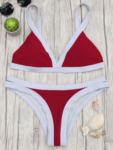 Two Tone Padded Swimsuit - Red S