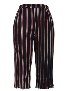 Pleated Striped Capri Gaucho Pants - Stripe Xl