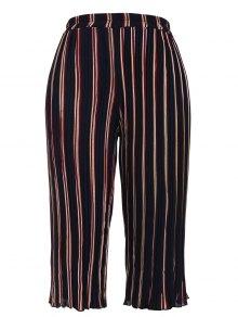 Pleated Striped Capri Gaucho Pants - Stripe 4xl