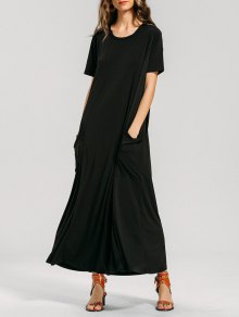 Formal Maxi Dress With Pockets - Black Xl