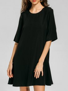 Back Zipper Half Sleeve Swing Dress - Black M