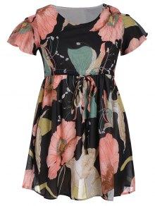 Cold Shoulder Drawstring Floral Dress - Floral 5xl
