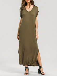Batwing Slit Maxi Dress - Army Green S