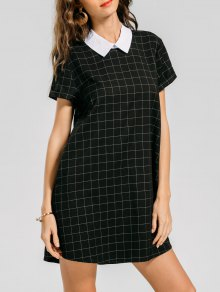 Keyhole Checked Casual Dress - Checked M