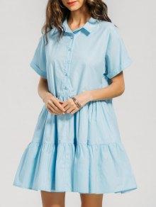 Half Buttoned Ruffles Shirt Dress - Light Blue L
