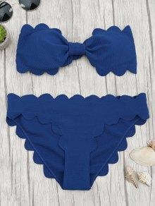 Padded Scalloped Bandeau Bikini Set - Deep Blue S
