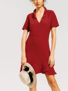 Back Zipper Flounces A Line Dress - Red Xl