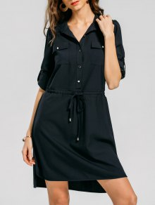 Belted Half Buttoned Shirt Dress - Purplish Blue L