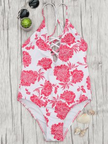 Hydrangea Strappy Plunge One Piece Swimsuit - Red And White L