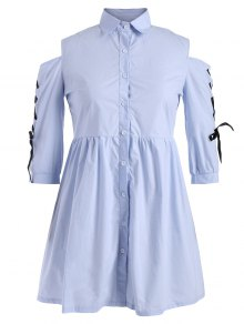 Lace Up Cold Shoulder Smock Shirt Dress - Windsor Blue 2xl