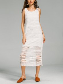 Scalloped Sheer Slit Lace Dress - White M