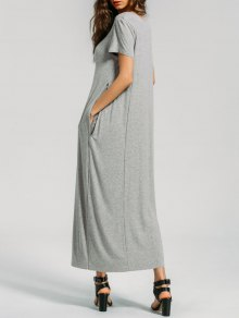 Holes Casual Layered Maxi Dress - Gray Xl