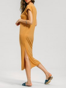 Batwing Slit Prom Midi Dress - Ginger L