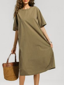 Back Zipper Tee Shift Dress - Army Green M