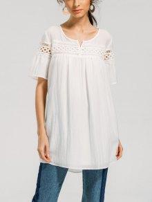 Sheer Crochet Panel Blouse - White S