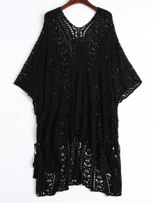 Open Knit Beach Poncho Cover Up Dress - Black