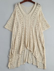 Open Knit Beach Poncho Cover Up Dress - Apricot