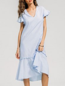 V Neck Ruffled Midi Casual Dress - Light Blue M