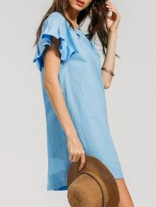 Ruffled Sleeve Shift Mini Dress - Light Blue S