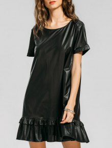 Flounces PU Leather Mini Dress - Black Xl