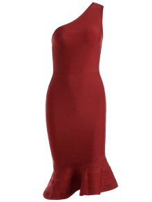 One Shoulder Plain Fitted Dress - Red L