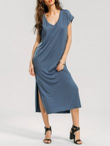 V Neck Slit Midi Casual Dress - Grey Blue Xl